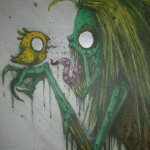 Chirping Zombie Art Print